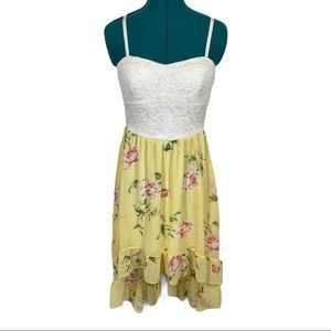 AUW asymmetrical floral spaghetti strap dress